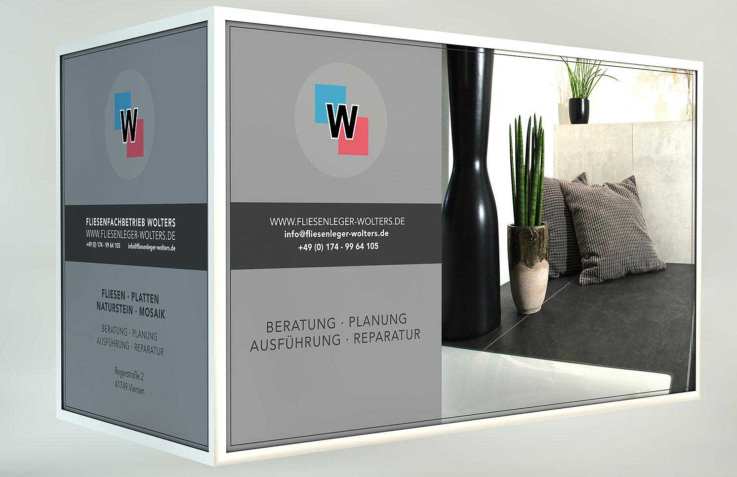 3D Ansicht der Layouts für die Werbeflächen auf dem Anhänger