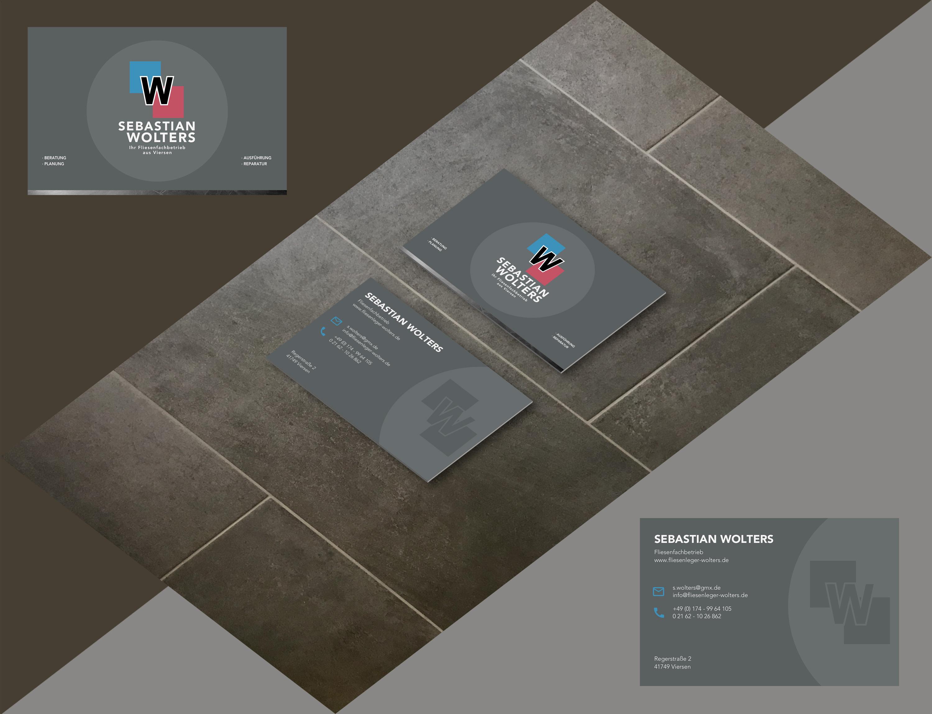 Aktuelle Visitenkarte im Corporate Design des Fliesenfachbetriebs