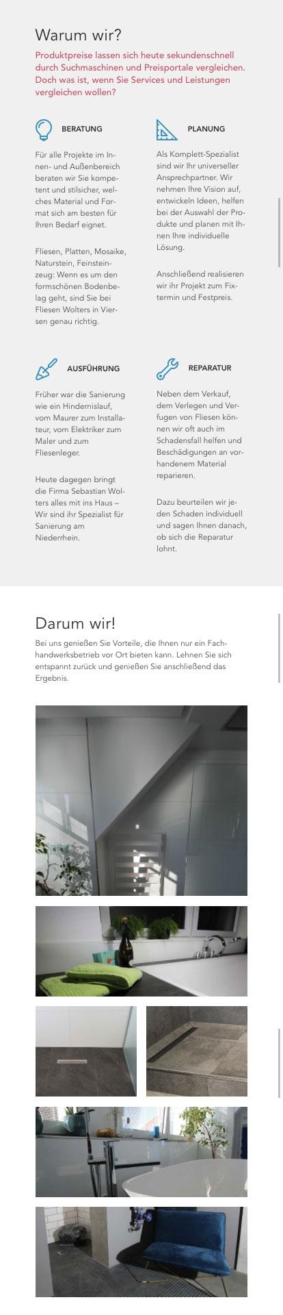 Responsive Screen des Portfolio-Bereichs der Website des Fliesenfachbetriebs